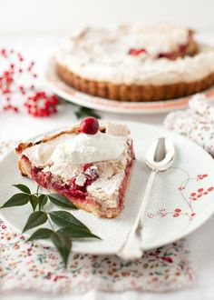 Cranberry-Meringue Tart (Tarte Meringuee Aux Airelles) Beautiful Winter Dessert at Cooking Melangery