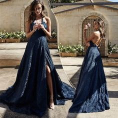 Navy blue lace long evening dress with slit navy blue prom dresses Navy Blue Prom Dresses, Grad Dresses Long, Formal Evening Dresses, Graduation Dresses, Dressy Dresses, Slit Dress, Blue Lace, Lace Prom Gown, Formal Outfits