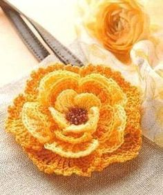 Crochet flower pattern free new. Stunning to crochet in yellow like the image below, but I can imagine a variety of these in all different colors, so beautiful! Crochet Motifs, Crochet Flower Patterns, Knit Or Crochet, Cute Crochet, Irish Crochet, Crochet Crafts, Crochet Stitches, Crochet Hooks, Crochet Projects