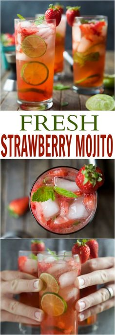 Fresh Strawberry Mojito Recipe - - The perfect Strawberry Mojito Recipe - easy, fresh, minty, fizzy, limey and filled with sweet juicy strawberries for the most refreshing cocktail this summer! It is sure to quench your thirst! Mezcal Cocktails, Beste Cocktails, Refreshing Cocktails, Summer Drinks, Cocktail Drinks, Fun Drinks, Cocktail Recipes, Beverages, Mexican Alcoholic Drinks