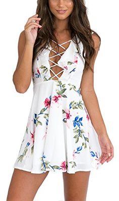 Summer Rullfes Dresses Women Sexy Chiffon Beach Dresses Women Bandage  Floral Print Sleeveless Hollow Out White Mini Dress 9aa69c8a4