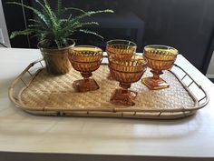 A personal favorite from my Etsy shop https://www.etsy.com/listing/510114906/amber-glass-dessert-dishes-dessert