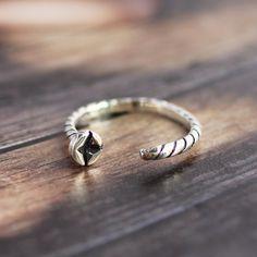Handmade Oxidized Silver Screw Open Wrap Ring by SilverStellaJewel