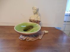 Haeger art pottery Maiden planter sexy pig tails Mid Century 3 color #3532 1950s #HaegerPottery