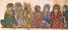 Women listening from the gallery. Image from the Maqāmāt al-Ḥarīrī. MS Arabe 5847, fol. 58v, detail. Bibliotheque Nationale, Paris.