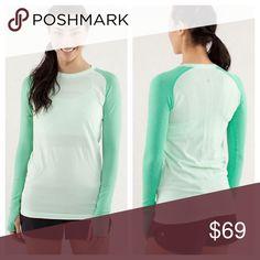 Lululemon / swiftly tech Colorblock Teal / very green. Cute baseball Sleeve lululemon athletica Tops Tees - Long Sleeve