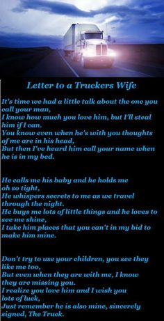 Letter to a trucker's wife, never thought my biggest fight would be with a huge hunk  of steal