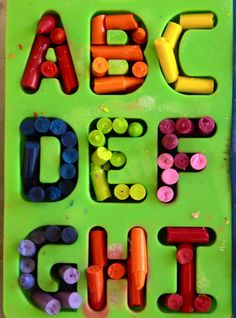 Neat letter crayons. I would probably do this with old nub crayons instead of a brand new box, but cool concept anyway!