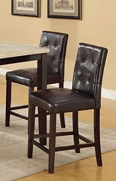 Bar Stools Counter Height Espresso Faux Leather Set Of 2 Parson Counter  Height Chairs By Poundex
