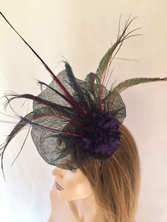 Excited to share this item from my shop: Black peacock fascinator black purple floral fascinator unique headpieces red flower fascinator headpiece unique headpiece,fascinator Black Fascinator, Black Headband, Pheasant Feathers, Peacock Feathers, Big Flowers, Purple Flowers, Floral Fascinators, Headpieces, Etsy Shop