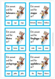 60 nypkort med synonymer Learn Swedish, Swedish Language, Kindergarten, Preschool, Parenting, The Incredibles, Teacher, Reading, Experiment