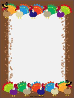 colorful festive turkeys fans their feathers against a brown background in this free printable thanksgiving border free to download and print