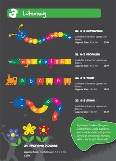 Playground Markings aimed at increasing literacy skills include Alphabet Snakes, Dragons, Caterpillars, Grids, Ladders and a wide variety of games. As per our numeracy games, if you have a literacy game specific to your school that you would like as a playground marking, we can do that too!