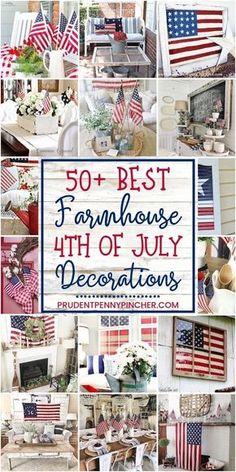 50 Farmhouse of July Decorations farmhouse diy homedecor memorialday 498351515016351226 4th July Crafts, Fourth Of July Decor, 4th Of July Celebration, 4th Of July Decorations, 4th Of July Party, July 4th, Holiday Decorations, Holiday Crafts, Americana Decorations