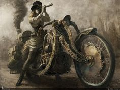 Safari Steampunk Anyone? Steampunk is a rapidly growing subculture of science fiction and fashion. Design Steampunk, Steampunk Kunst, Steampunk Motorcycle, Steampunk Artwork, Motorcycle Art, Steampunk Cards, Gothic Steampunk, Art Punk, Goth Art