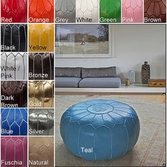 @Overstock - Hand-made in Morocco of genuine leather, this stunning ottoman pouf is an elegant home accessory, featuring hand-stitching using silk thread. Individual pieces of leather are dyed, then stitched together and embroidered by hand.http://www.overstock.com/Home-Garden/Handmade-Casual-Living-Leather-Moroccan-Ottoman-Pouf/6401252/product.html?CID=214117 $208.99