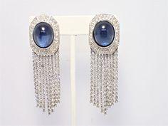 "Vintage Ciner Clear Rhinestone Dangle Blue Cabochon Clip Earrings 3"" Long #Ciner #DropDangle"