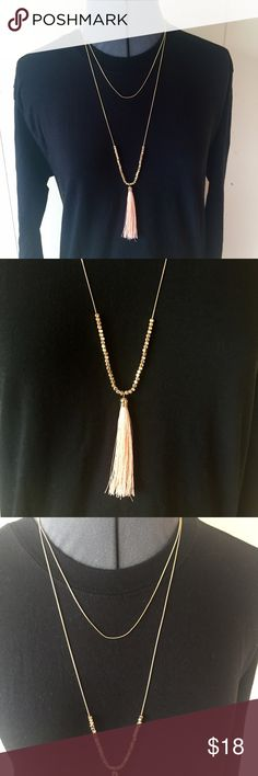 Fringe Tassel Necklace Perfect condition. Light pink tassel fringe layered necklace. Free People Jewelry Necklaces