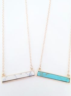 Marble Stone Bar Necklace $16 + free shipping from elleandk.com