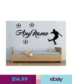 Decals, Stickers & Vinyl Art Personalised Wall Art Sticker Name Boys Bedroom Football Striker Diy Home Decor #ebay #Home & Garden