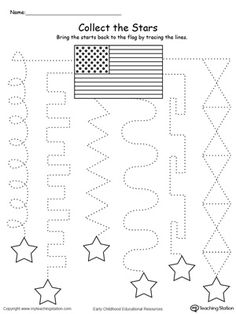 **FREE** Trace the Pattern to Collect the Stars Worksheet. Practice tracing patterns and help your child develop their fine motor skills in this pre-writing patriotic printable worksheet. #4thofjuly #patriotic
