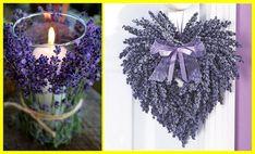 18+voňavých+dekorací+ze+sušené+levandule Lavender Crafts, Lavander, Candle Holders, Creations, Wreaths, Candles, Halloween, My Love, Image