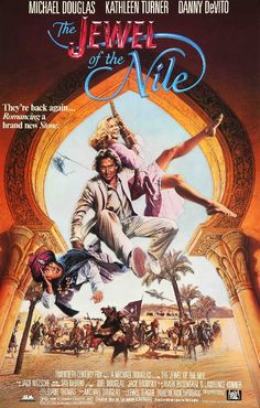 """Film: The Jewel of the Nile (1985) Year poster printed: 1985 Country: USA Size: 27"""" x 41"""" This is an original, unfolded one-sheet movie poster from 1985 for The Jewel of the Nile starring Michael Doug"""