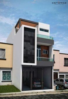 23 Ideas for apartment elevation design architecture Townhouse Designs, Duplex House Design, House Front Design, Apartment Design, Modern Small House Design, Minimalist House Design, Narrow House, 3d Home, Cool Apartments