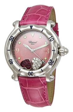 Chopard Happy Sport Diamond Ruby Heart Steel Pink Leather Ladies Watch 28/8950  $5947