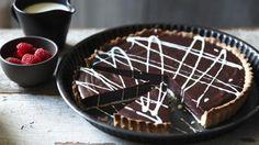 BBC Food - Recipes - Chocolate tart with white chocolate sauce