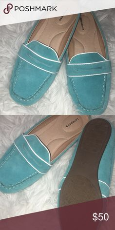 Lands end loafers Bright blue Lands' End loafers never worn new. Lands' End Shoes Flats & Loafers