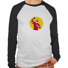 Athlete Fist Pump Circle Retro Tees. Illustration of a male athlete doing a fist pump looking up viewed from low angle set inside circle done in retro style. #Illustration #AthleteFistPump