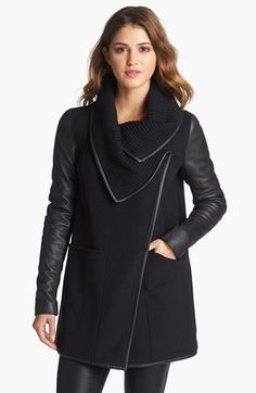 I want to find a knock off of this...Mackage 'Cornelia' Leather Sleeve Coat available at #Nordstrom