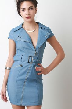 ef0fa12ff68fff This chambray denim bodycon dress features a diagonal zipper front to a  notch collar neckline, short sleeves, princess seam for a more sculpture  fit, ...
