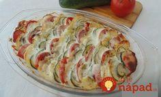 Výborný obed, alebo aj príloha k letnému obedu. Všetci boli príjemne prekvapení, že obyčajná zelenina zo záhradky môže chutiť takto výborne, odporúčam každému. Potrebujeme: 4 ks (veľké) zemiaky nové 2 ks cuketa 4 ks (veľké) paradajky 3 strúčiky cesnak podľa chuti soľ podľa chuti korenie čierne čerstvo mleté 4 vetvičky tymián (lístky) 250 ml smotana... Diet Recipes, Vegetarian Recipes, Cooking Recipes, Healthy Recipes, Zucchini, Cooking For Dummies, Hungarian Recipes, Top 5, Vegetable Recipes