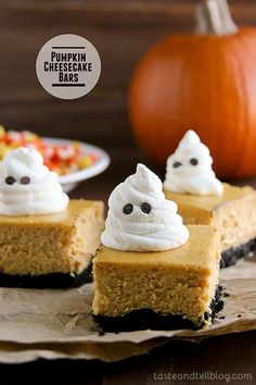 Pumpkin Cheesecake BarsEasy, cute and delicious! Festive bars are made from pumpkin cheesecake on top of a cookie crust. For Halloween, garnish with whipped cream ghosts for a ghoulish touch. Hallowen Food, Halloween Desserts, Halloween Treats, Halloween Recipe, Halloween City, Halloween Magic, Halloween Goodies, Halloween Cupcakes, Halloween Season