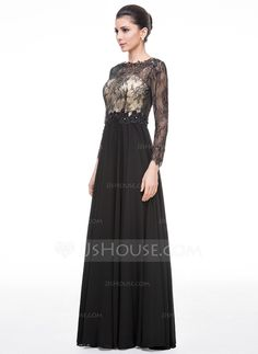 Vestidos princesa/ Formato A Decote redondo Longos De chiffon Renda Vestido de festa com Bordado Lantejoulas (017058382)