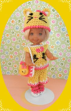 """Crochet Doll Clothes Maize Kitty for 4 ½"""" Kelly Same Sized Dolls   eBay"""
