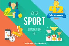 """Check out """"Sport. Illustration and icon set"""" by Olyzel on Creative Market"""