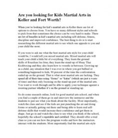 Are You Looking for Kids Martial Arts in Keller and Fort Worth? http://www.scribd.com/doc/130030452/Are-You-Looking-for-Kids-Martial-Arts-in-Keller-and-Fort-Worth
