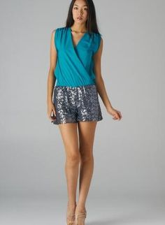 Teal Color Block Romper with Draped Front & Sequin Bottoms,  Other, sequin romper  colorblock, Chic