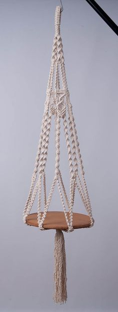 Macrame hanging table or plant hanger in off white   5 mm