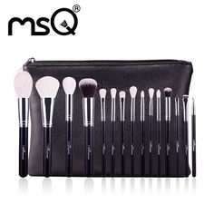 MSQ 15pcs Professional Makeup Brushes Set Make Up Brushes High Quality Goat Hair With PU Leather Case For Beauty
