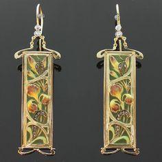 Floral Enamel Earrings Art Nouveau plique von adinantiquejewellery, $24700.00
