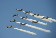 Italian national display team Frecce Tricolori Aermacchi MB-339 trainers.