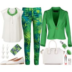 A fashion look from April 2014 featuring white blouse, cotton jacket and green jeans. Browse and shop related looks. Mode Outfits, Fashion Outfits, Womens Fashion, Classy Outfits, Stylish Outfits, Green Outfits For Women, Elegantes Outfit, Outfit Jeans, Professional Outfits