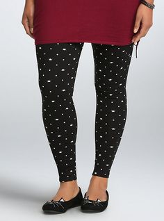 Plus Size Cat Polka Dot Print Full Length Leggings, BLACK