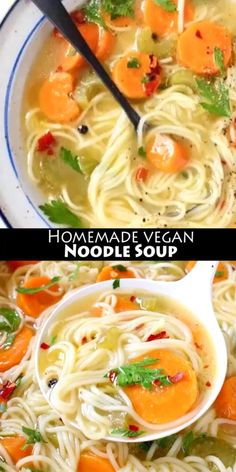 Homemade vegan vegetable noodle soup from scratch featuring classic angel hair style long noodles, carrot, celery and tons of fresh Italian parsley. Soup Appetizers Soup Appetizers dinners carb Soup Appetizers Appetizers with french onion Vegan Noodle Soup, Vegetable Noodle Soup, Rice Noodle Soups, Best Vegan Recipes, Vegetarian Recipes, Healthy Recipes, Vegan Soups, Vegan Dishes, Soup Recipes