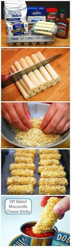 Baked Mozzarella Cheese Sticks Recipe   Ingredients:  1 package string cheese  1 cup panko  1 cup Italian bread crumbs  1 cup flour  ...