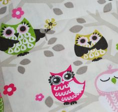 "1 yard - Cotton Printed Duck - Owls - Owl Fabric - Cotton Cloth - 45"" wide. $8.99, via Etsy."